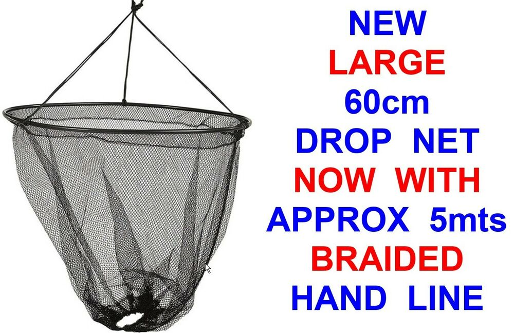 New large 60cm drop net braided hand line sea pier boat for Drop net fishing