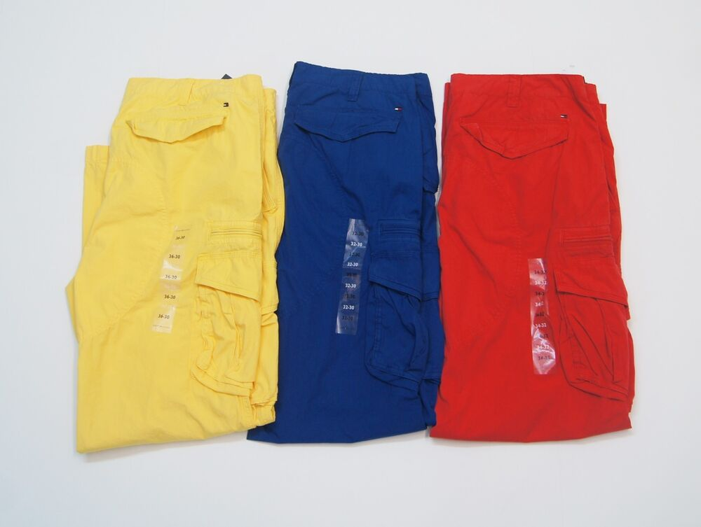 Tommy Hilfiger Men Light Weight Cargo Colored Pants New