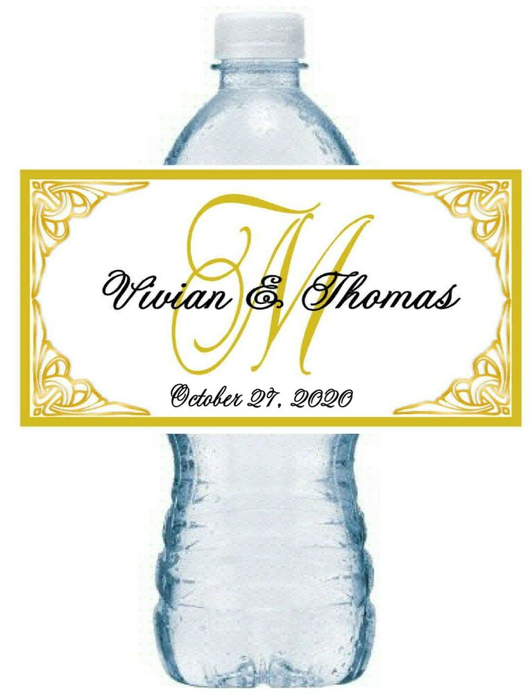 100 personalized gold monogram wedding water bottle labels