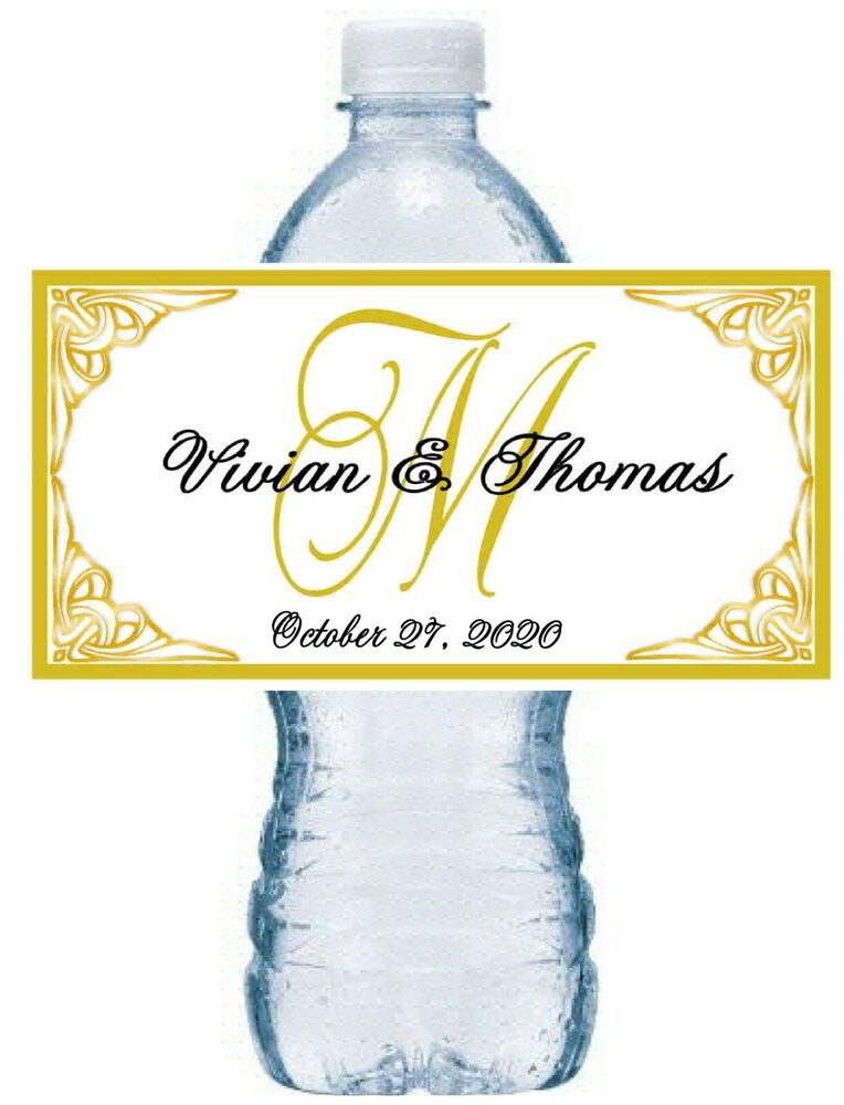 gold monogram wedding water bottle labels waterproof ink ebay