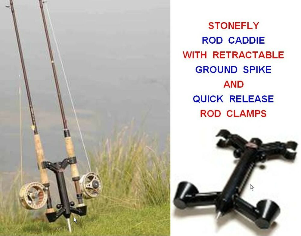 Stonefly rod caddie ground spike 2 rod holder fly fishing for Fly fishing rod holder