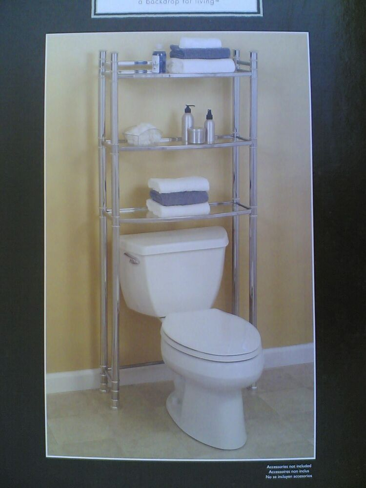 nib nice bath over toilet etagere w chrome frame tempered glass shelves ebay. Black Bedroom Furniture Sets. Home Design Ideas