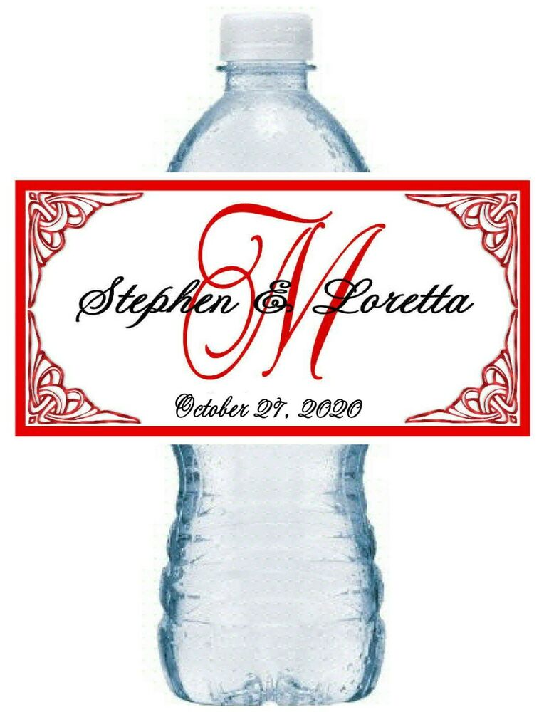 50 personalized red monogram wedding water bottle labels for Custom waterproof labels for water bottles