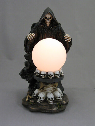 Skeleton Reaper Scryer With Crystal Ball Gothic Ebay