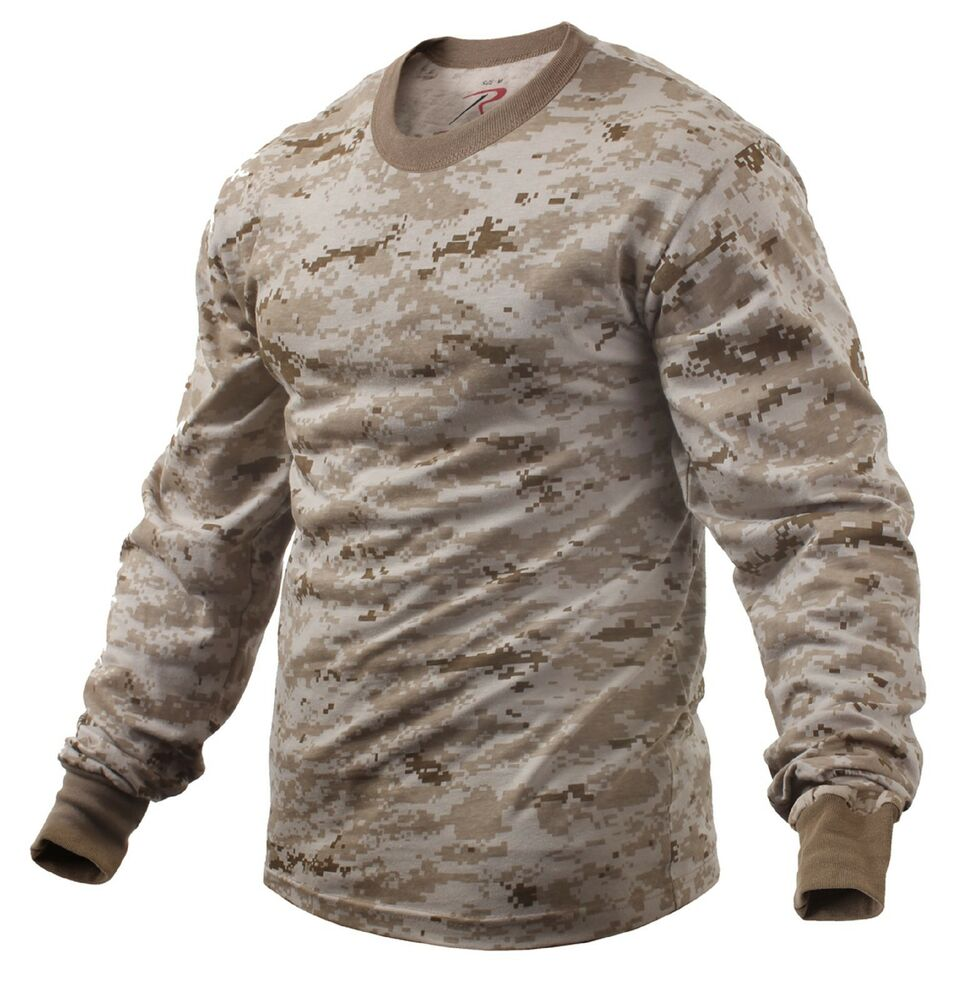 Desert digital camouflage long sleeve tee shirt mens camo for Gildan camouflage t shirts