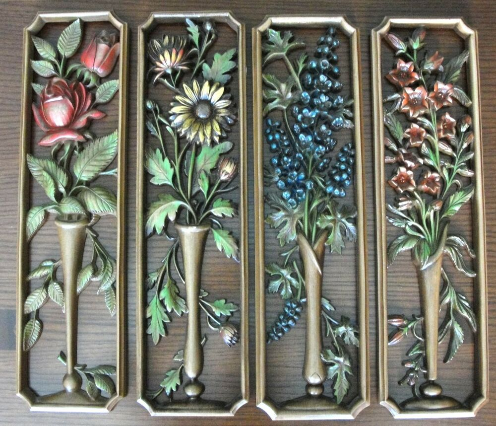 Vintage burwood syroco wall art plaques flowers set of 4 for Hollywood regency wall decor