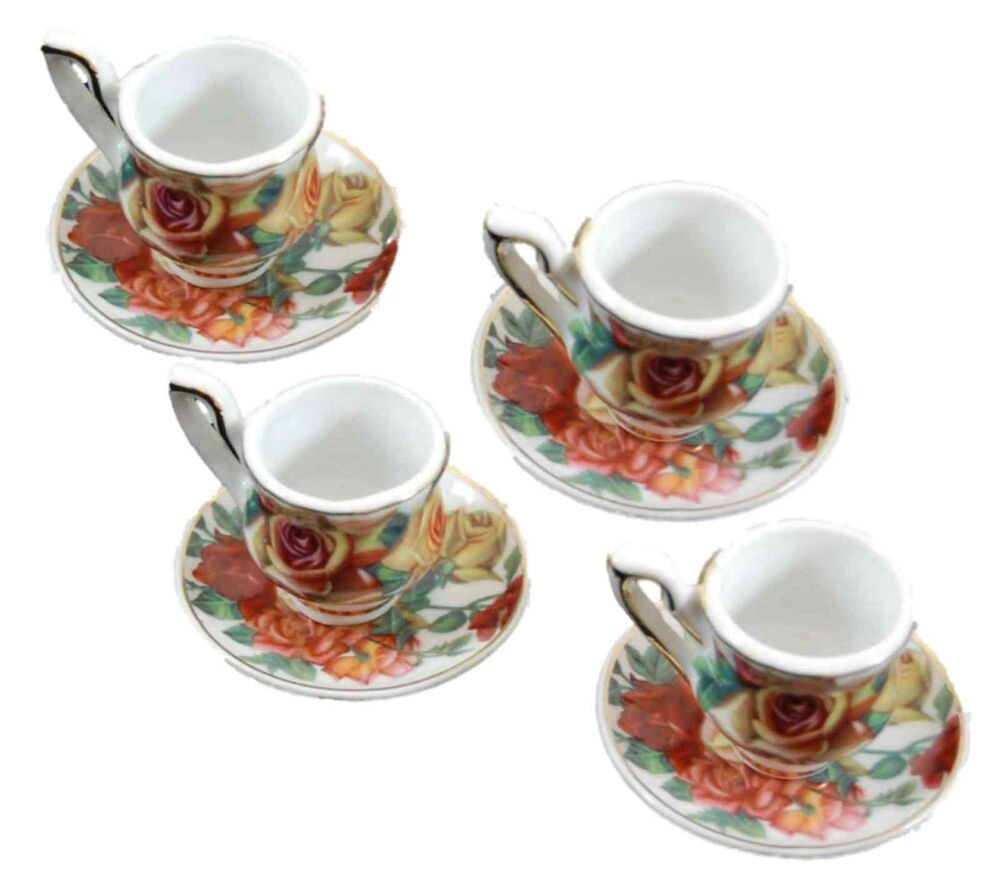 set of 4 mini fine china tea cups saucers for 18 american girl doll dishes ar ebay. Black Bedroom Furniture Sets. Home Design Ideas