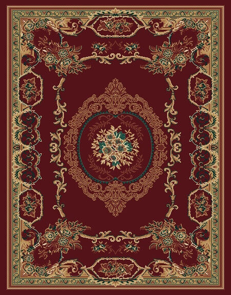 Red Burgundy European Area Rug 8x11 French Carpet Actual