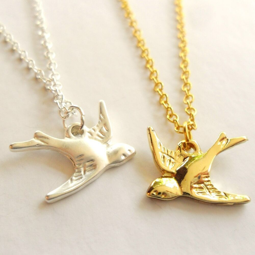 summer necklace gold or silver plated brass bird