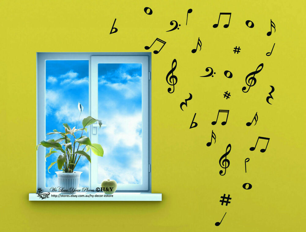 Removable Music Notes Musical Notation Vinyl Decal Wall Sticker Mural Home Decor Ebay