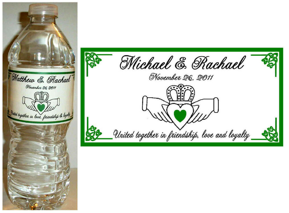 100 irish claddagh wedding water bottle labels glossy waterproof