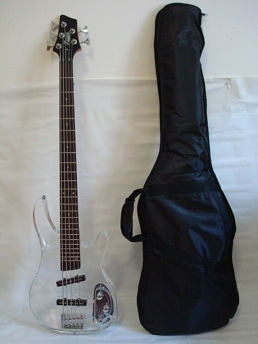 5 string clear body lucite electric bass guitar with free gig bag brand new ebay. Black Bedroom Furniture Sets. Home Design Ideas
