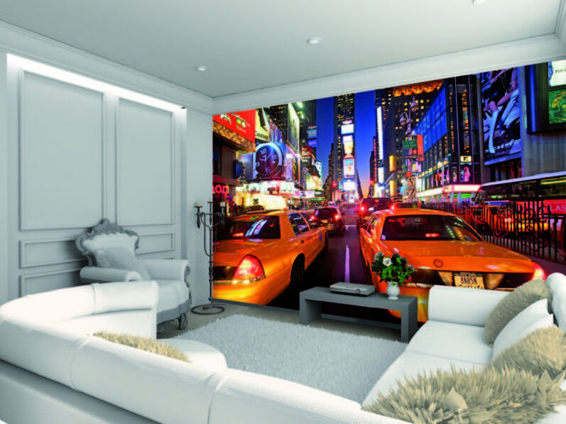 wallpaper mural new york taxi photo wall paper poster. Black Bedroom Furniture Sets. Home Design Ideas