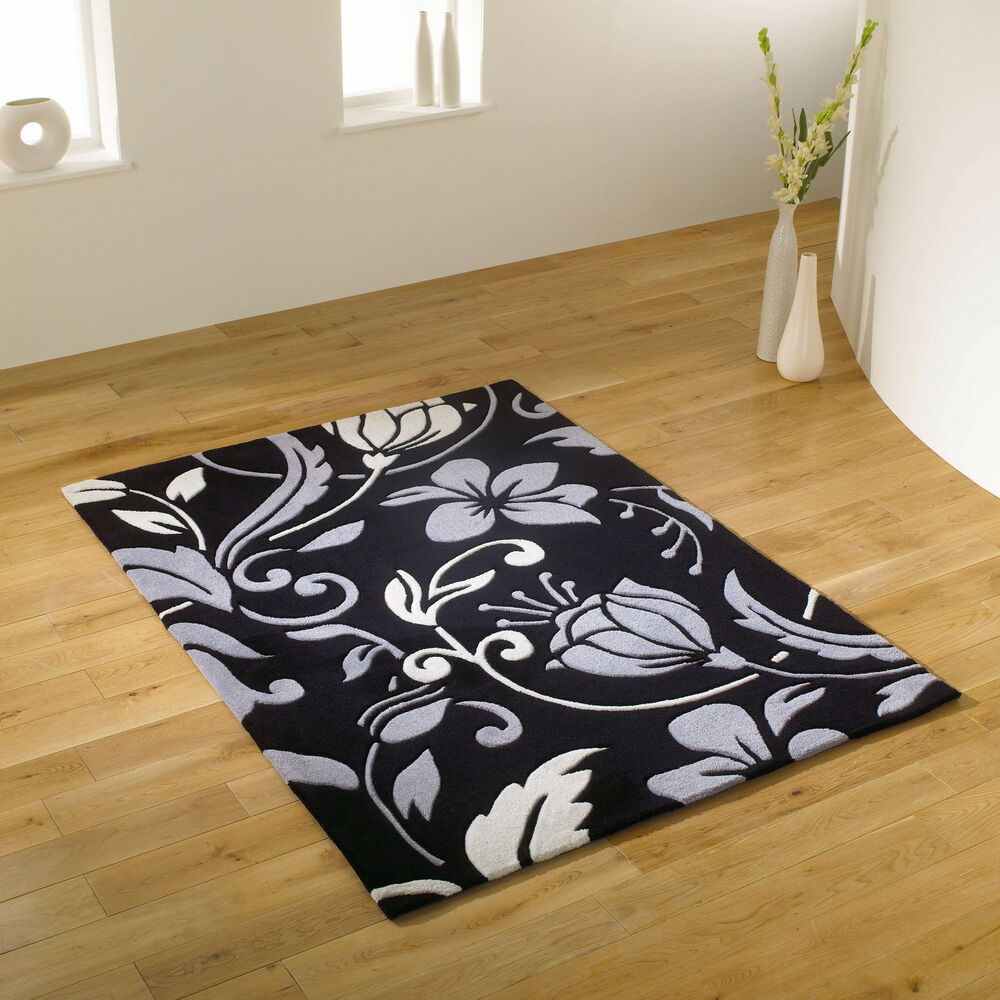 Black And White Rug Ebay Uk: EXTRA LARGE BLACK GREY IVORY WHITE / CREAM THICK