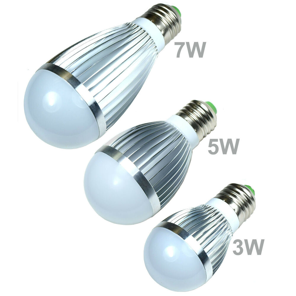 led bulb white cool energy saving light lamp e26 e27 3w 5w 7w globe standard ebay. Black Bedroom Furniture Sets. Home Design Ideas