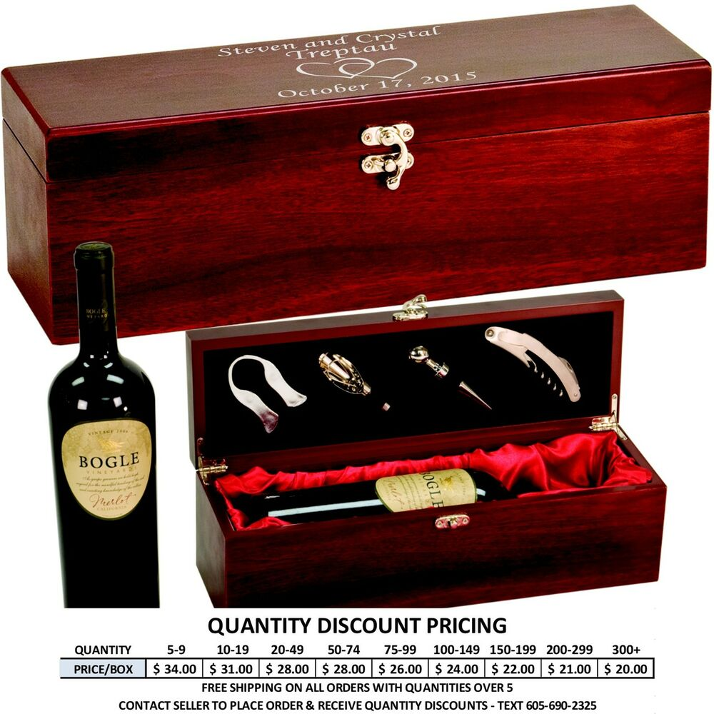 Rosewood Wine Box With Custom Engraved Lid Personalized
