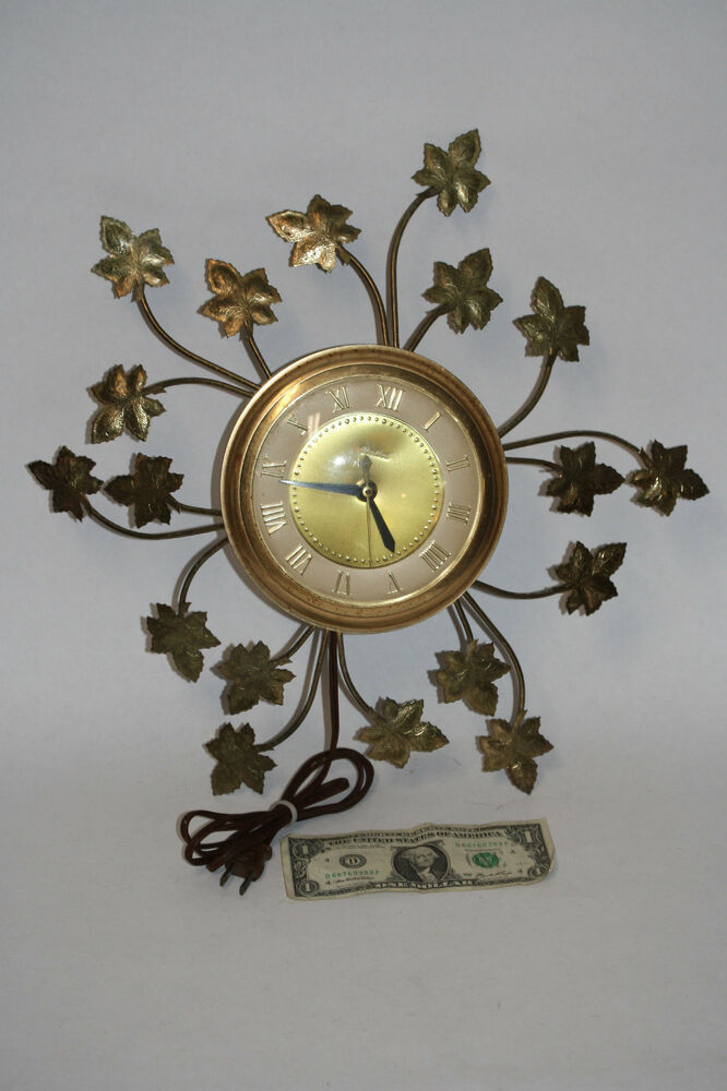 vintage retro mid century modern brass united wall clock ivy leaves usa ebay. Black Bedroom Furniture Sets. Home Design Ideas