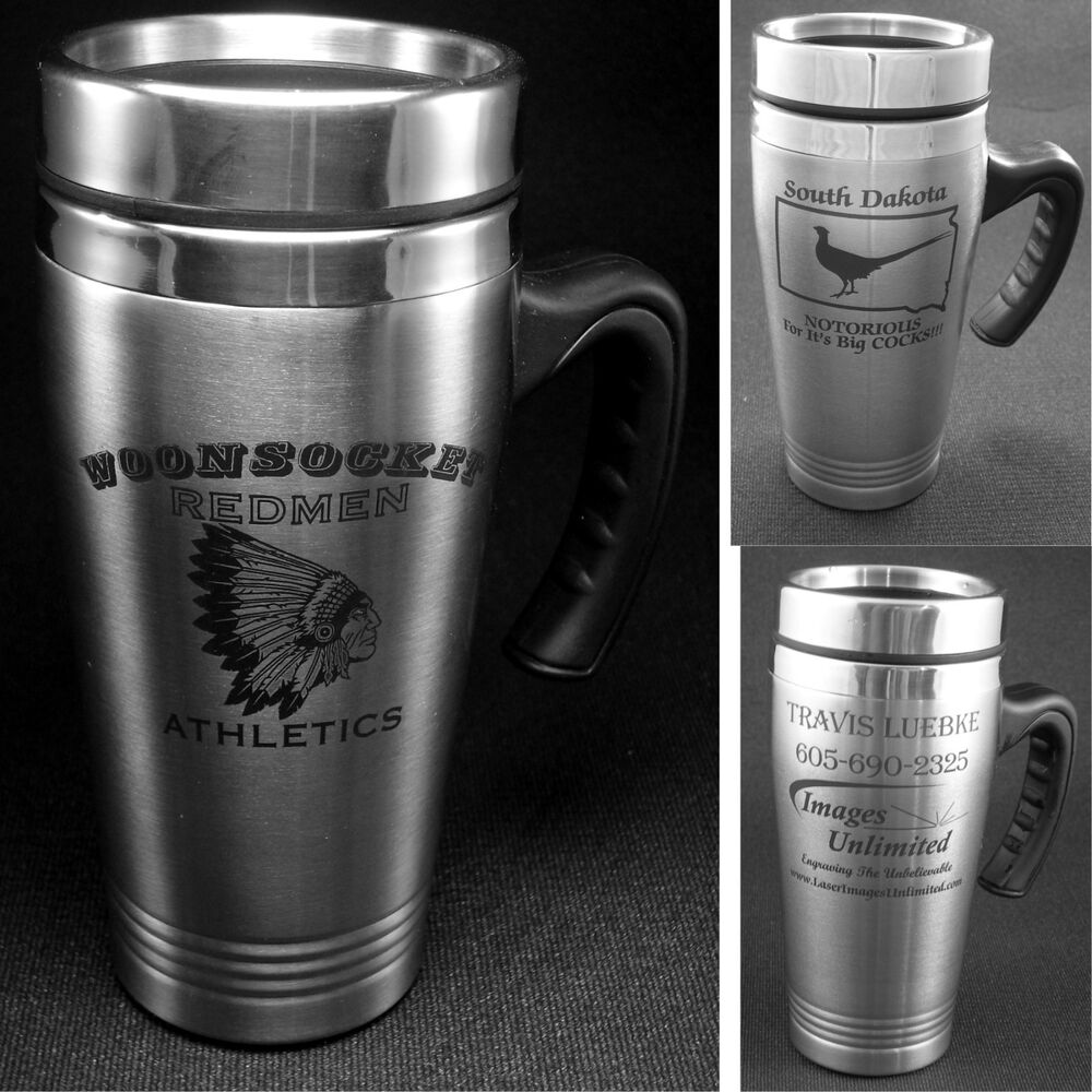 personalized stainless steel coffee travel mugs with custom logo design mug ebay. Black Bedroom Furniture Sets. Home Design Ideas