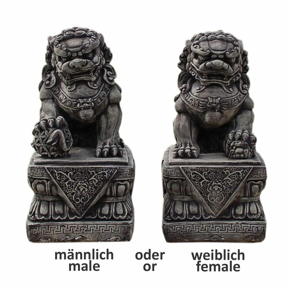 chien fu foo lion chinois thailande statue feng shui d co ext rieure 10832 ebay. Black Bedroom Furniture Sets. Home Design Ideas