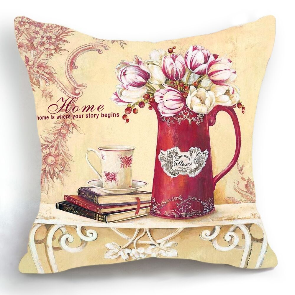Decorative Pillows Vintage : Retro Vintage Red Vase Tulip Flower Decorative Pillow Case Cushion Cover 18 eBay
