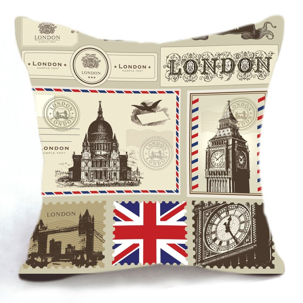 Retro Vintage London Postcard Big Ben Bridge Home Pillow