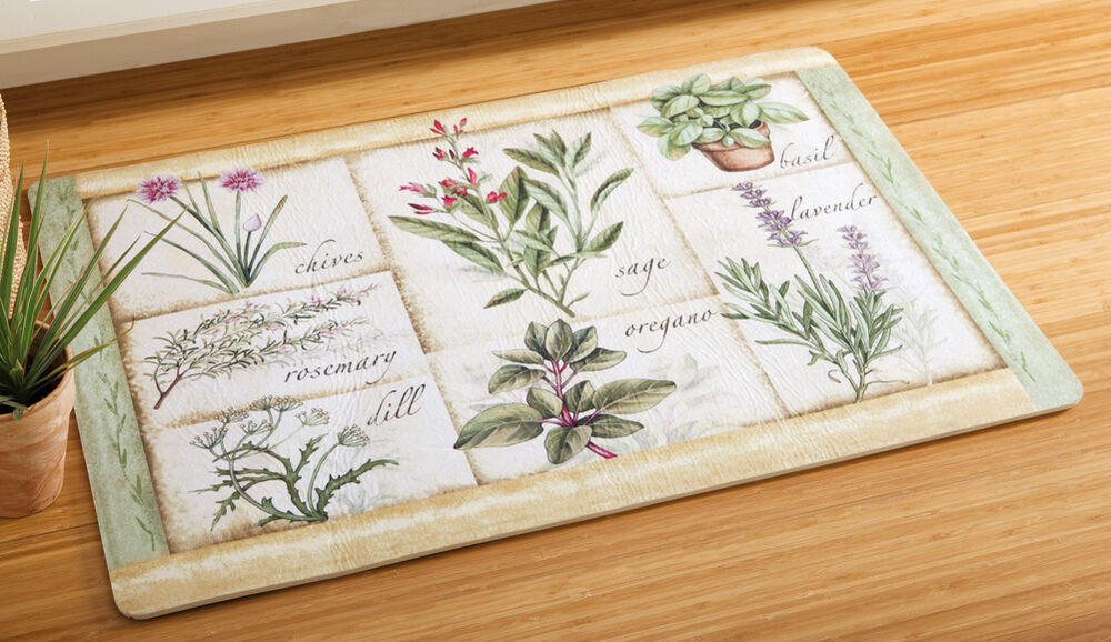 Country Herb Garden Floral Foam Cushioned Comfort Kitchen