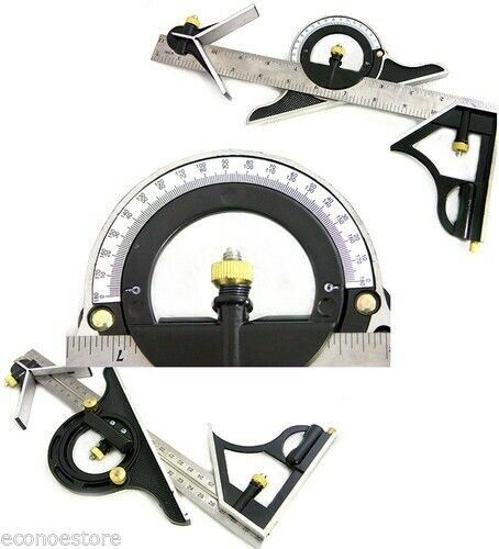 "Lower Level Multi Purpose: 12"" SS COMBINATION PROTRACTOR TRI-SQUARE RULER LEVEL MULTI"
