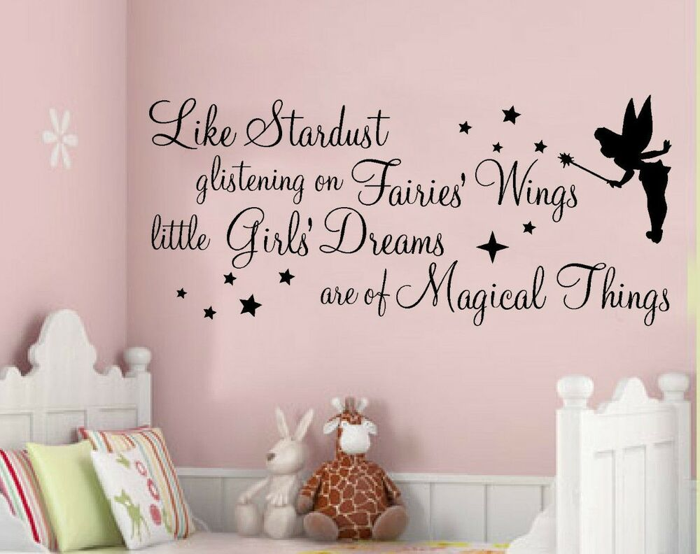 Wall Art Stickers Quotes Stardust Glistening Fairy Girls Nursery Bedroom Phrases Ebay