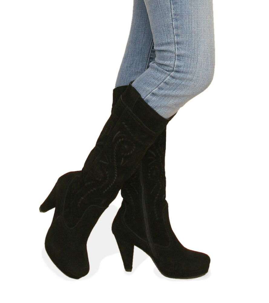 new black genuine suede leather boots knee length ebay