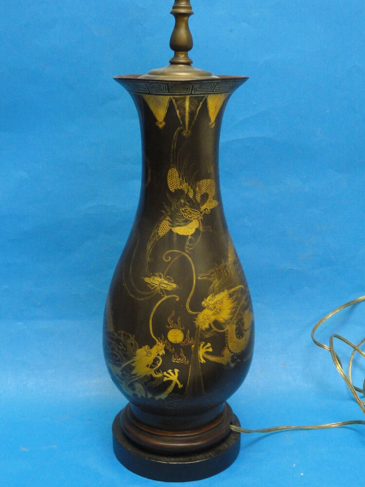 Antique 19 c english dragon motif chinoiserie style for How to make paper mache lamps