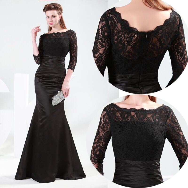 Mermaid Cocktail Dress: Sexy Women Lace Long Sleeve Mermaid Prom Cocktail Evening