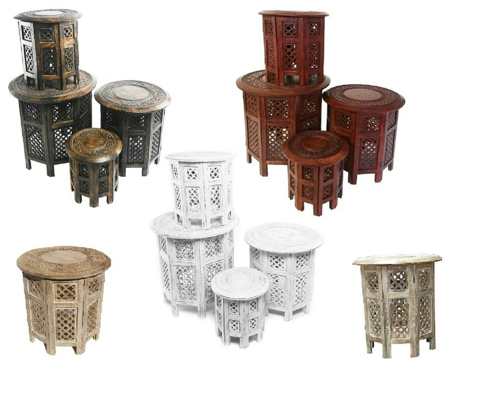 Carved Round Coffee Table Rascalartsnyc: Beautiful Round Brown & White Hand Carved Indian Wooden