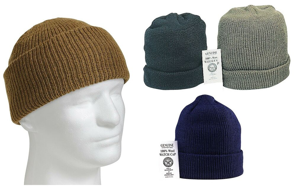 100% Wool Watch Cap Military Warm GI Cold Winter Weather ...