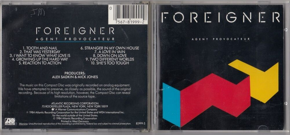 foreigner agent provocateur cd 1984 target west germany 781999 2 atlantic ebay. Black Bedroom Furniture Sets. Home Design Ideas