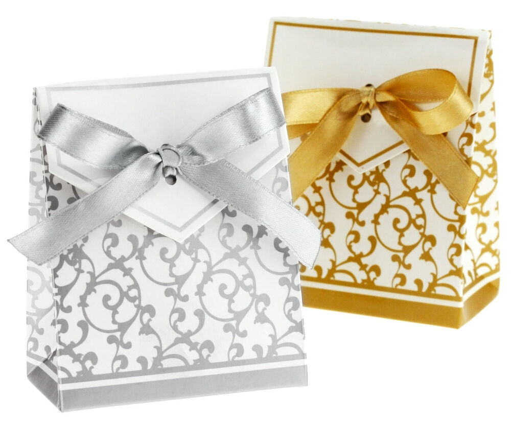 Gold Silver Ribbon Wedding Favours Box Party Candy Gift Bomboniere ...