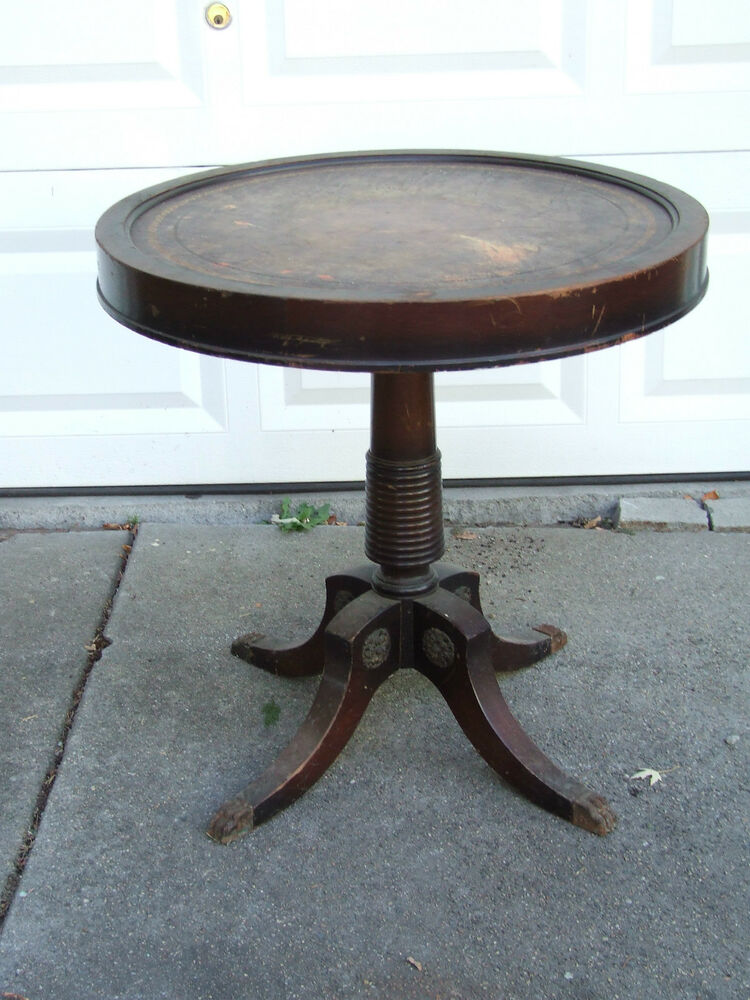 Beau Antique 1920u0027s Victorian Mahogany Leather Top Drum Table With Metal Claw  Feet | EBay