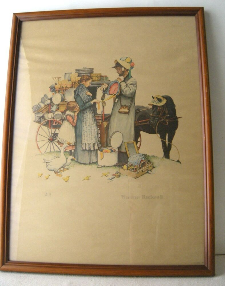 Norman Rockwell Framed Lithograph Quot A Country Peddler Quot Ap