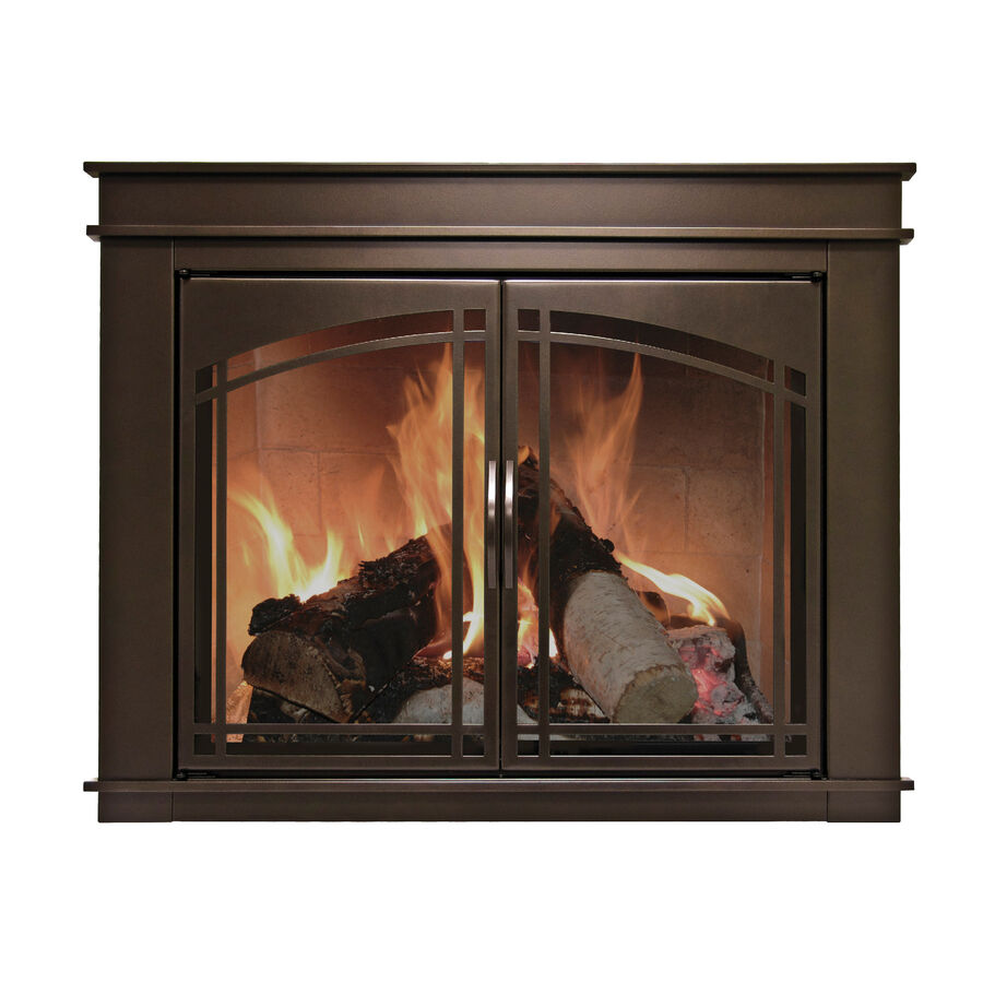 Nib Elegant Medium Bronze Finish Fireplace Doors W Steel