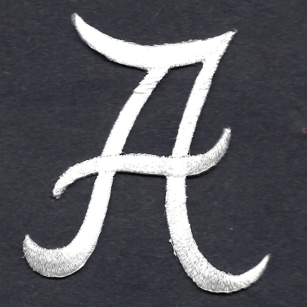 script letters white script letter quotaquot iron on With iron on embroidered letters script