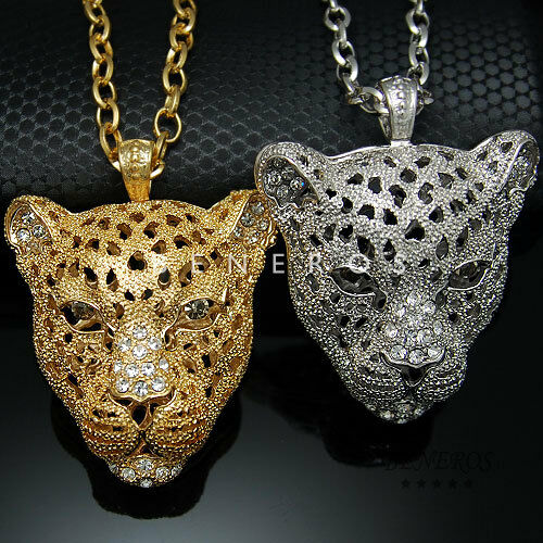 Panther head pendant chain necklace gold silver mens animal panther head pendant chain necklace gold silver mens animal leopard jewelry ebay mozeypictures Images
