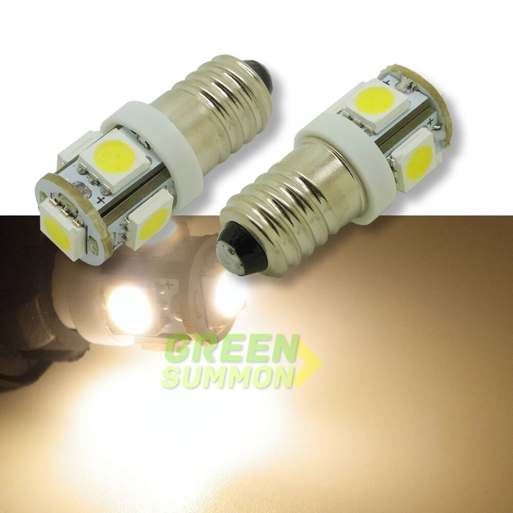 2x e10 led warm white 5 5050 smd miniature screw bulb for diy lionel 12v lights ebay. Black Bedroom Furniture Sets. Home Design Ideas
