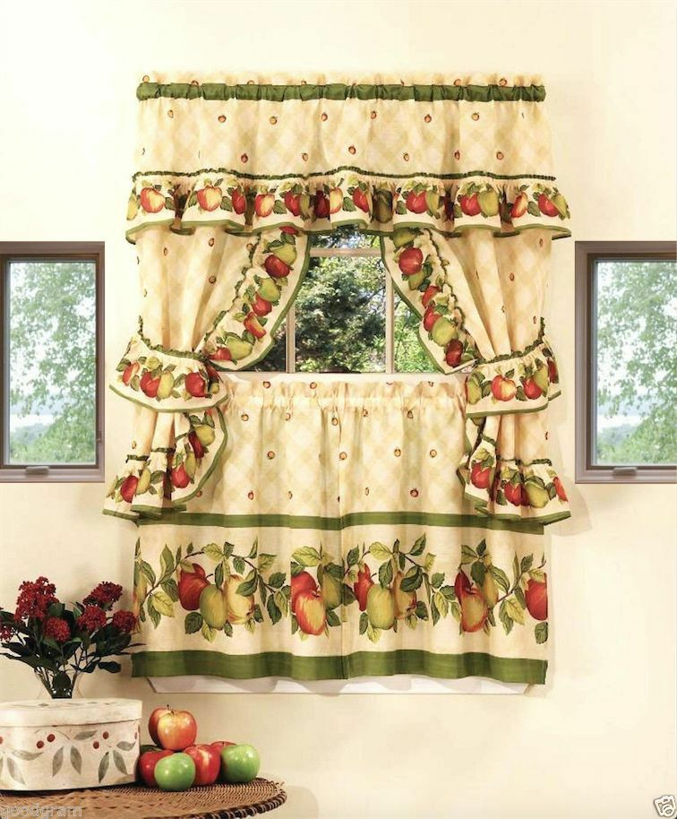 Apple Blossom Complete Kitchen Curtain Set By Goodgram Assorted Sizes Ebay