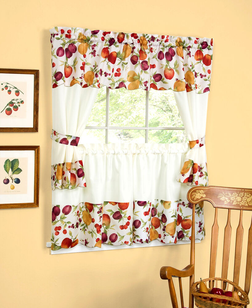 Chesapeake country fruit complete kitchen curtain set - Jcpenney bathroom window curtains ...