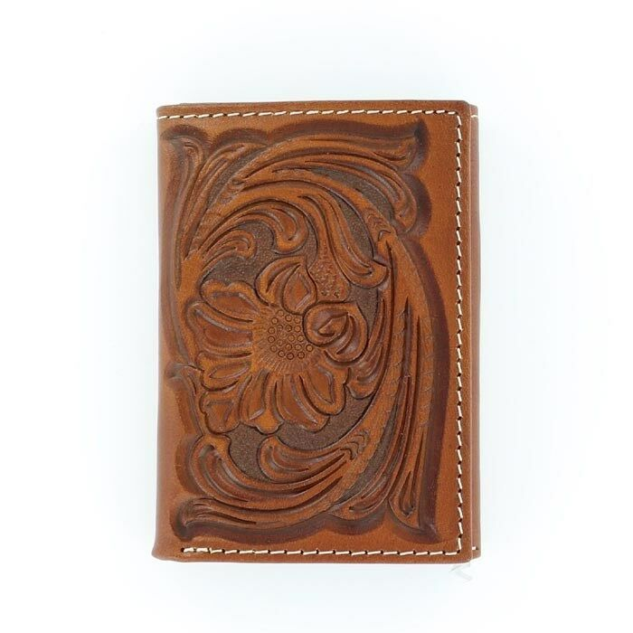 Brown Tooled Leather Tony Lama 174 Tri Fold Wallet Floral
