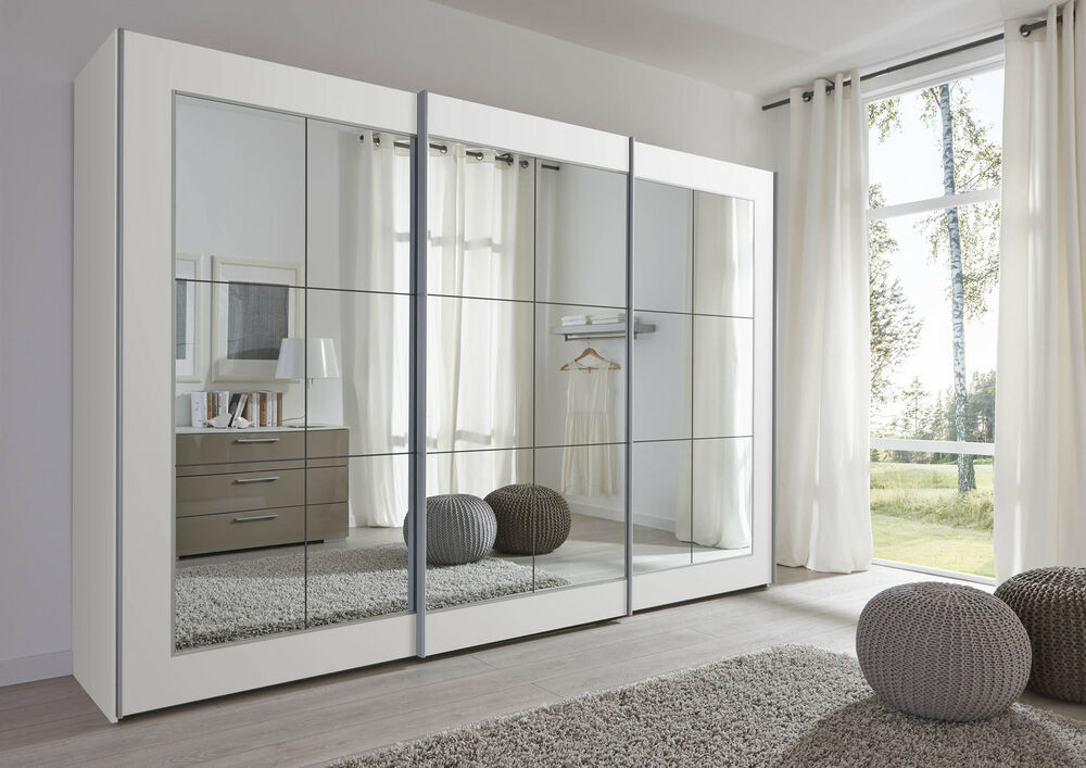 schlafzimmer 202cm 301cm lattice german modern sliding wardrobe with mirror ebay. Black Bedroom Furniture Sets. Home Design Ideas