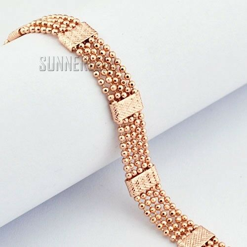 Gold Link Bracelet Womens: Fashion Jewelry 8mm Mens Womens Beads Link Chain 18K Rose