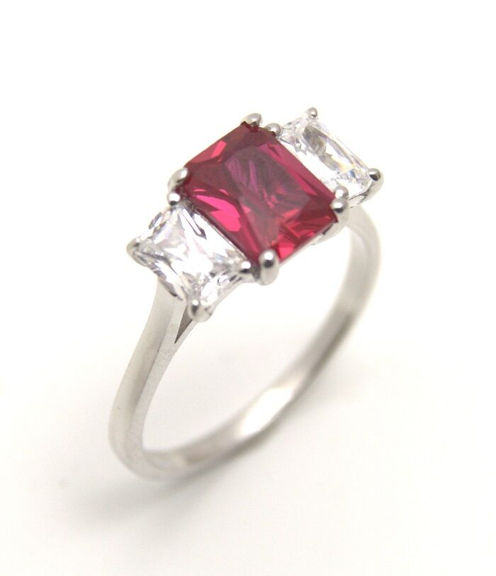 Diamond Unique Ruby & Diamond 3ct Emerald Cut Trilogy Ring 9ct Gold