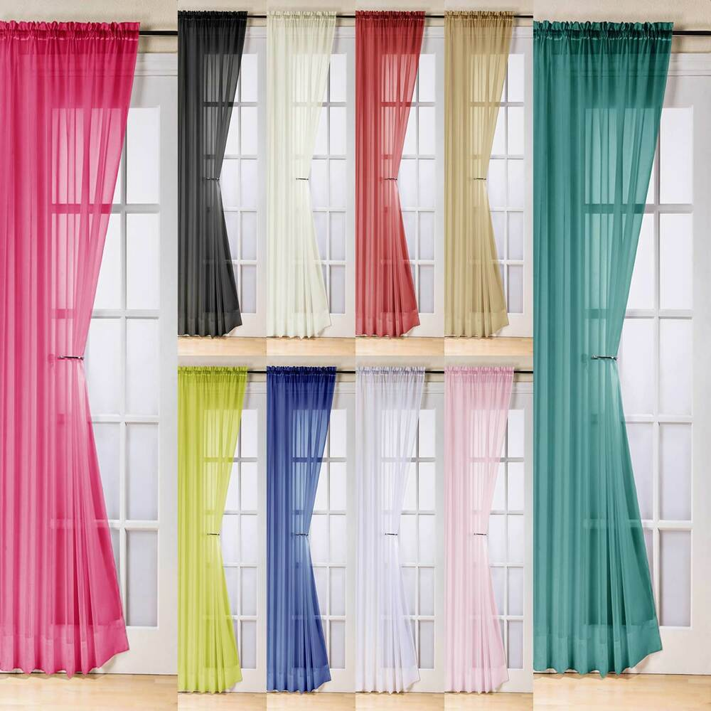 TRENT PLAIN VOILE CURTAIN PANEL READY MADE SLOT TOP PANEL ...