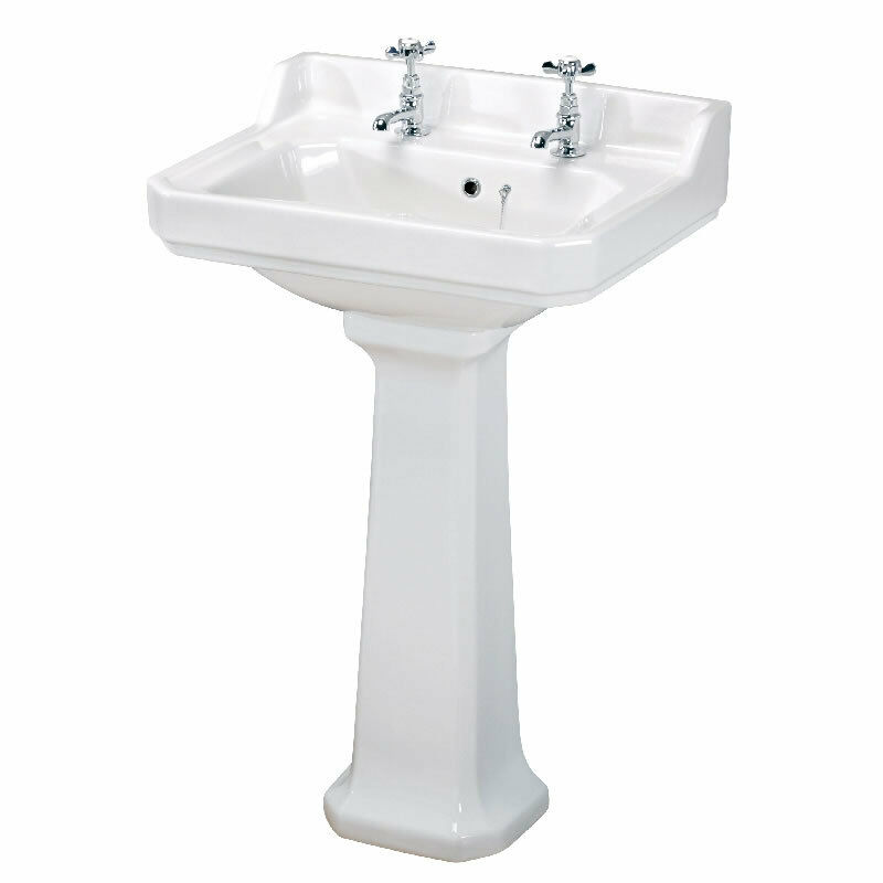 Traditional White Bathroom Ceramic Two Tap Hole Basin Sink