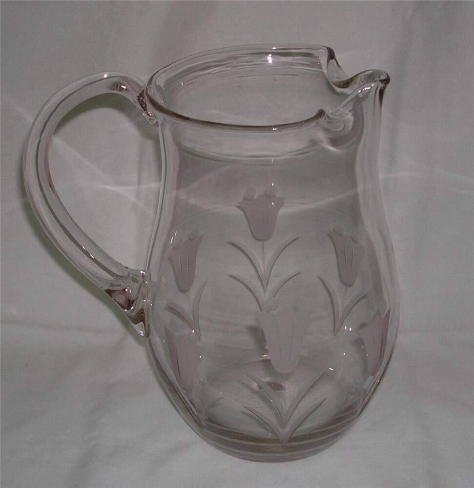 Lovely etched cut clear glass pitcher tulips flowers 2 for Glass 2 glass